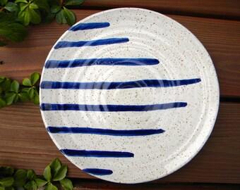 Stoneware Dinner Plates - White with Blue Stripes
