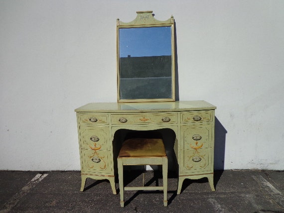 3PC Vanity Desk Antique Shabby Chic Desk Bench Mirror Table