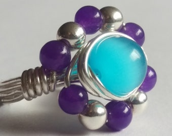 Purple Dragon Vein and Teal Cat's Eye Ring