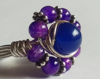 Purple Dragon Vein and Riverstone Flower Ring