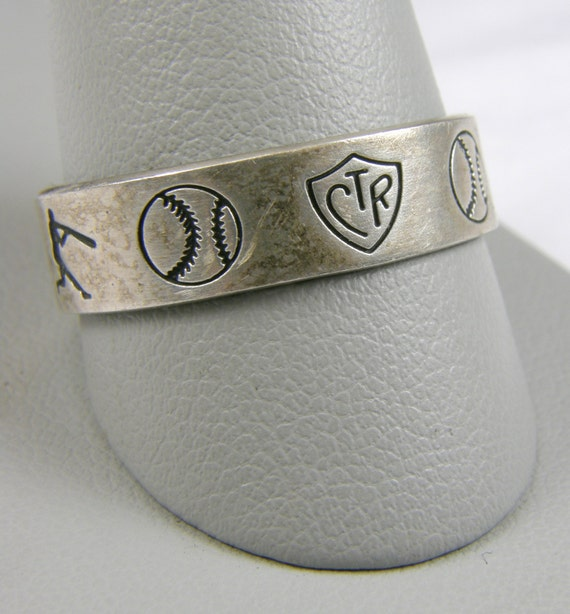 baseball themed ctr 925 sterling silver ring size 11 1 2