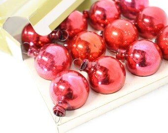 """SALE Red Mercury Glass Ornaments, Bottle Brush Feather Tree, 1"""" Small"""