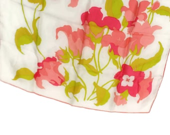 Silk Scarf, Coral Pink Green on Soft White, 27""