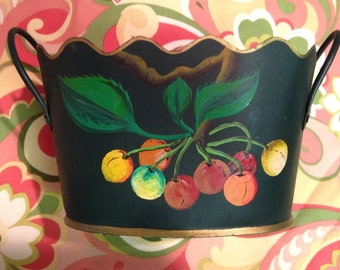 Vintage Scalloped Tole Planter with Cherries