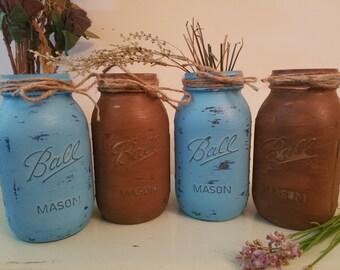 Distressed Mason Jar, Painted Mason Jar, Wedding, Baby Shower, Brown and Blue