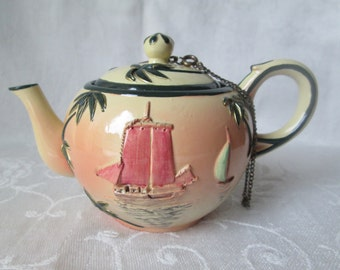 Nini Teapot Trinket Box, Hand Painted Teapot with Sailboat