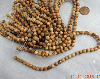 Picture Jasper 6 mm round gemstone beads for making necklaces, bracelets, earrings, Mala etc.