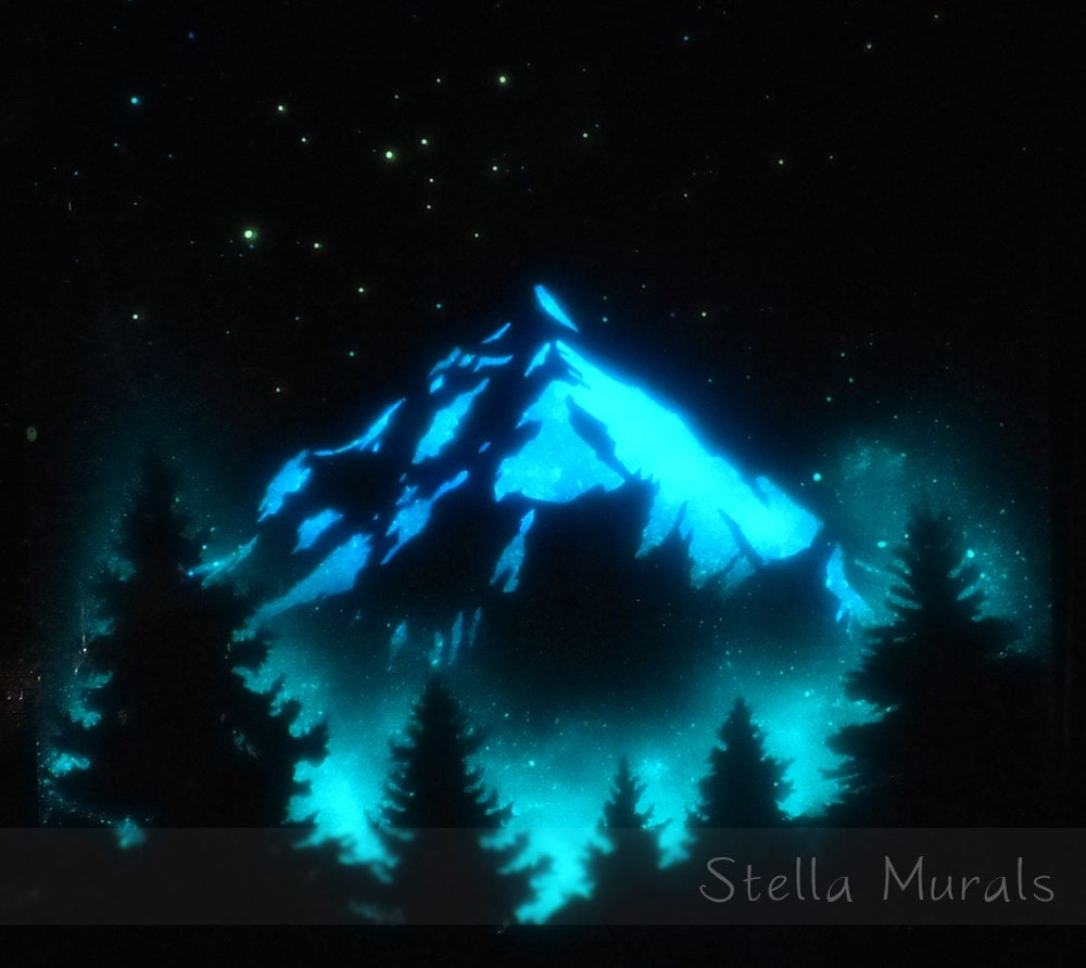 Glow In The Dark Art Poster Of Starry Sky And Mountain Blue