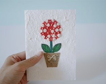Greeting Cards, holiday paper flowers card , red daisy, white cover with white envelop