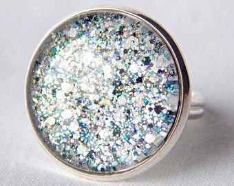 Glitter Ring; Glass Cabochon Ring; Nail Polish Jewelry; Silver Circle Ring; Adjustable Ring Band; Round Glass Ring; Hand Painted Jewelry