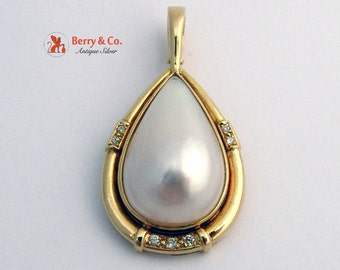 LargeTeardrop Mabe Pearl Pendant 14 K Gold Diamonds
