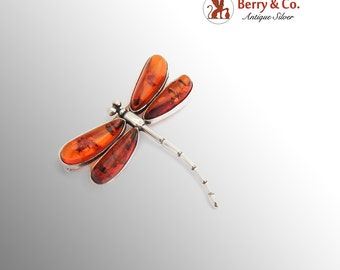 Treated Amber Dragonfly Brooch Sterling Silver