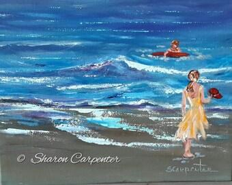 Beach Children Ocean Canvas Impressionistic Oil Painting