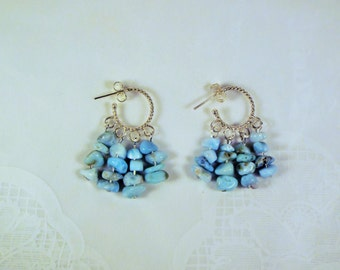 "Cynthia Lynn ""JEWEL of the  CARIBBEAN"" Sterling Silver Larimar Hoop Chandelier Earrings"
