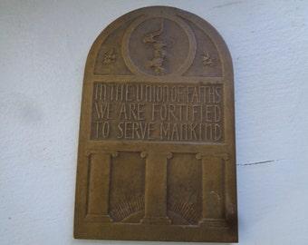 Bronze Judaica Plaque of Jeremiah 1938