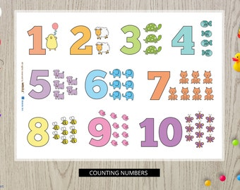 NUMBERS Educational Kids Placemats-educational-placemats-toddler gift,Numbers Placemat-placemats-Counting numbers-colors-numbers-blue-yellow