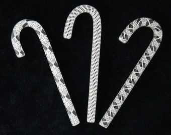 White Filigree Mix Glass Candy Canes