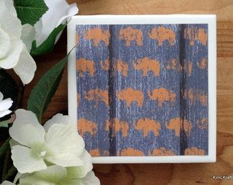 Blue Distressed Wood Coasters, Tile Coasters, Coasters, Rustic Coaster, Elephant Coaster, Drink Coasters, Tile Coaster, Coaster Set of 4