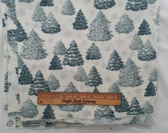 """Christmas Holiday Cotton Fabric Yardage 43"""" wide 2 yd long Pre Washed Silver Snowflakes White Background Christmas Trees  #4"""