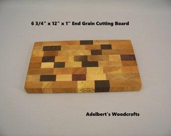 "12"" long end grain cutting board - Cheese Board    6 3/4"" x 12"" x 1"""