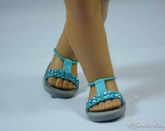 American Girl or 18 inch doll SANDALS SHOES Flipflops in Turquoise Aqua Blue Rhinestone Sparkle with Ankle Strap