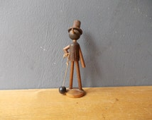 Wooden Chimney Sweep / Wooden Doll / Made in USSR / Soviet toy