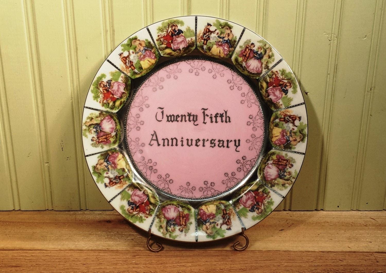 Twenty Fifth Wedding Anniversary Gift Ideas: Vintage Twenty Fifth Anniversary Plate With Raised Bead Trim