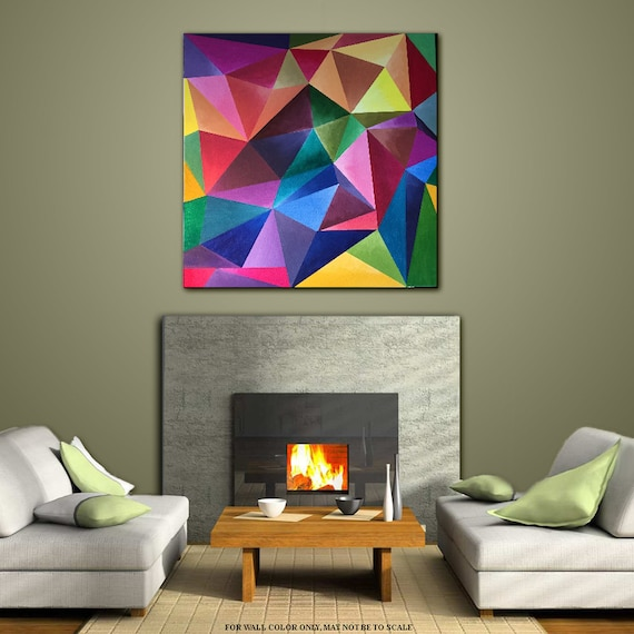 Wall art painting acrylic geometric contemporary home decor for Contemporary mural art