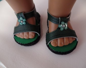 "Hunter Green ---Sandals-- for 18"" Dolls--Shown on my American Girl Doll"