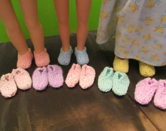 Slippers for Wellie Wishers or Hearts for Hearts Dolls, Nice Warm Slippers for the Fall and Winter,Good Stocking Stuffers ,Many Colors,