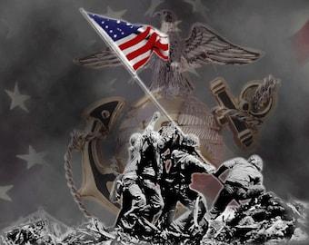 Flag Raising USMC Flexible Photo Fridge Magnet