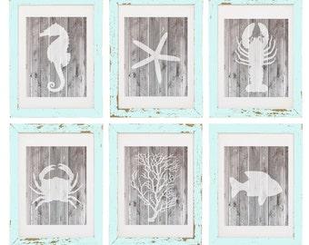 Wood Nautical Digital Art Prints, Set of 6 - INSTANT DOWNLOAD, Coastal Art, Beach Art, Nautical Art - Printable Art Home Decor