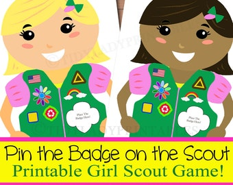 Printable Girl Scout Game, Pin the Badge on the Scout, Girl Scout Activity, INSTANT DOWNLOAD Girl Scout Meetings, Girl Scout Brownies, Daisy