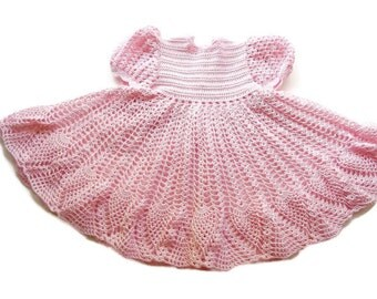 Crochet Lace Pink Baby Dress girl Newborn Preemie Reborn doll Handmade dress