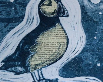 Puffin Monoprint with chine collé 'Wordy Puffin' - mounted digital print from an original ink monoprint with chine colle.