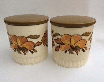 Vintage storage jars kitchen canisters Royal Worcester Palissy tea coffee sugar jars containers bathroom cotton wool buds buttons trinkets