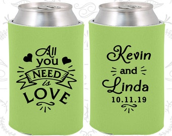 All You Need is Love, Custom Wedding, Southern Wedding, Hearts, Wedding Can Coolers (221)