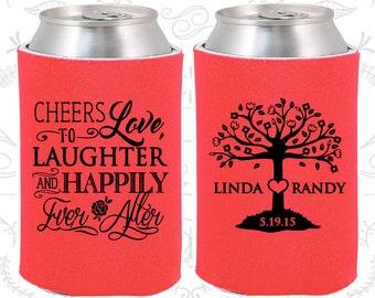 Tangerine Wedding, Can Coolers, Tangerine Wedding Favors, Tangerine Wedding Gift, Tangerine Wedding Decor (326)