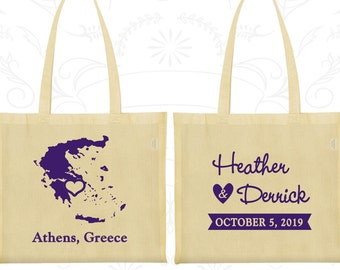 Greece Tote Bags, Greece Wedding, Promotional Cotton Tote, Destination Wedding Bags, Wedding Tote, Athens Tote Bags (177)