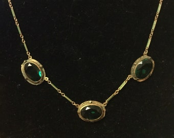 Rare necklace enameled chain with deep green stones