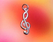 925 Solid Sterling Silver MUSIC NOTE Pendant / Treble Clef Pendant/ Music Lover Jewelry - Small- Polished