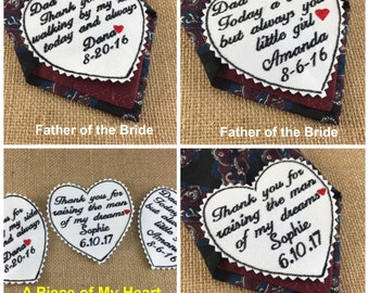 Father of the Bride or Father of the Groom WEDDING TIE PATCH - Iron On Tie Patch, Sew On Tie Patch, A Piece of My Heart Patch, Wedding Gifts