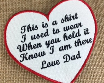 IRON ON Heart Shaped Memory Pillow Patch - 4.5 Inch patch, Memorial Patch, This is a shirt I used to wear, In Memory, Shirt Pillow Patch