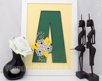 decorative letter a wall hanging letter stand alone letter letter a letter with flowers customized letter framed letter wall letter