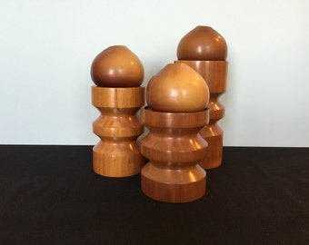 Scandinavian Cherry Wood Candle Holders with Candles!