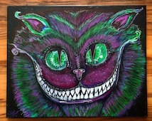 """Original Cheshire Painting on mounted canvas! 20""""x16"""" acrylic painting. No prints made, 1/1 Original"""