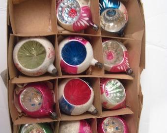 11  Large Indent Teardrop Round Christmas Ornaments Poland w/ Box