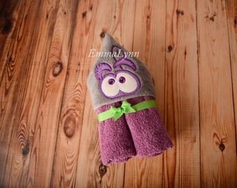 Feelings fear kids hooded bath towel, kids personalized hooded towel, hooded beach towel, hooded pool towel, personalized gift