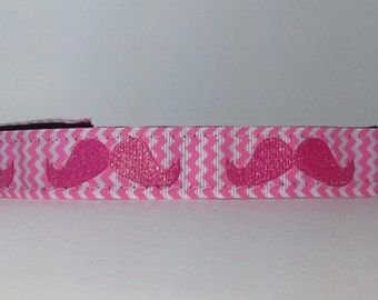 Sparkly Pink Mustache non-slip headband multi-colored adjustable size