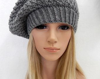 Knit Hat SLOUCHY BERET Beanie Handmade .. Gray Heather   (Ready to Ship)